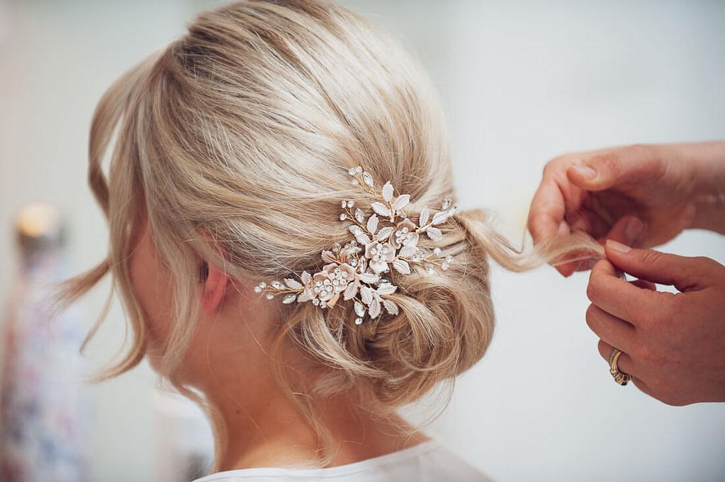 Bride with hair piece rear