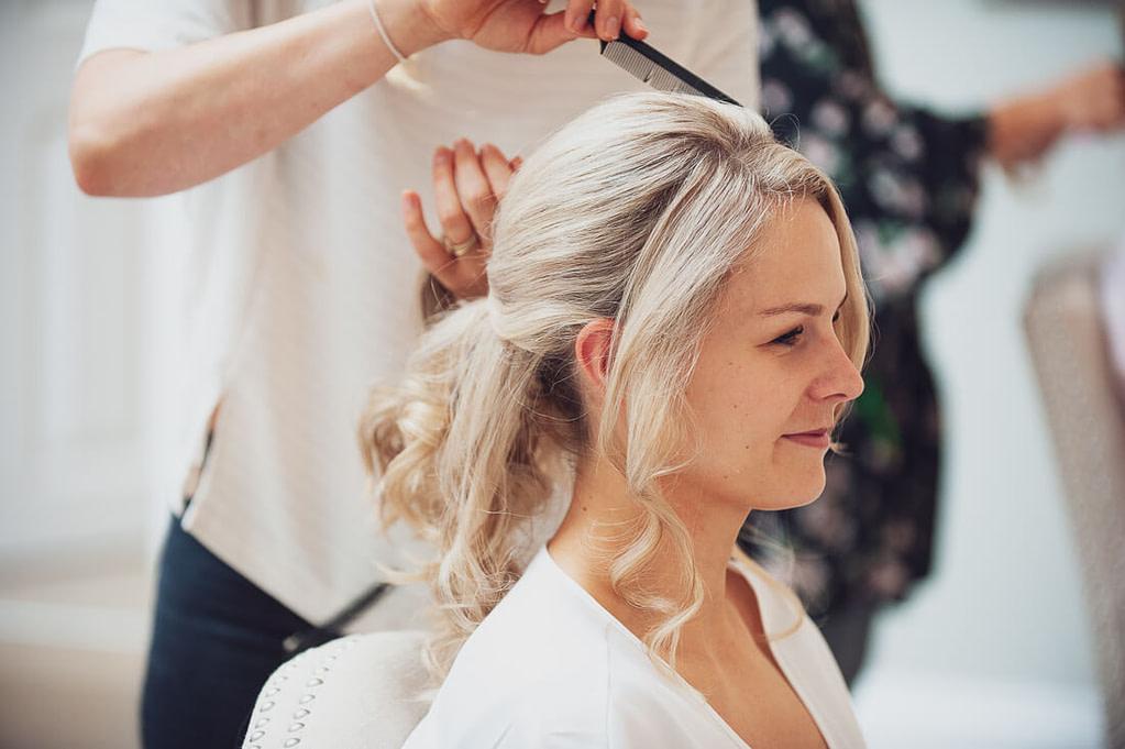Bride side on hair